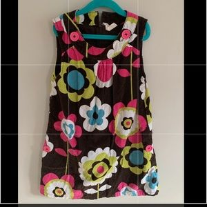 Mini Boden Corduroy Pinafore Floral brown pink
